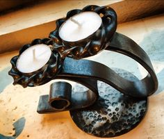 Double candle holder inspired by the Cornish coastline.