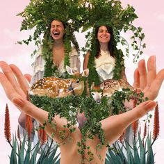 Meet your heroes. Invite them over, take their portraits, and then make devotional art collages for them. Thank you @abbijacobson and @ilanusglazer for so gracefully transforming into wood goddesses/baby doe mamas. I am completely and totally inspired by you.  #meetyourheroes #abbiandilana #broadcity #mhstudiolove #babydoemamas   And  @ricobk for the sick  headpieces.