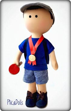 Portrait boy doll Cobalt blue Table tennis champion Selfie mini me doll Fabric doll with ping-pong racket Tilda custom toy Gift for husband, Fabric Crafts, Fabric Doll Pattern, Cat Fabric, Fabric Dolls, Woven Fabric, Doll Patterns Free, Doll Clothes Patterns, Free Pattern, Portrait Picasso, Portrait Sculpture