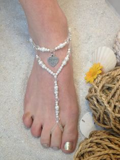 Hey, I found this really awesome Etsy listing at https://www.etsy.com/listing/162346603/pearl-and-silver-bridal-barefoot-sandal
