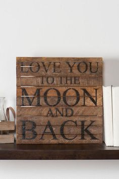 Love You to the Moon Wood Wall Art