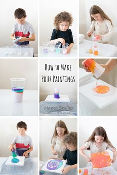 How to Pour Paint: Acrylic Pour Painting Techniques DIY pour painting tutorial. I especially like the details on how to make this amazing art project work with a bunch of kids! Pour Painting Techniques, Acrylic Pouring Techniques, Acrylic Pouring Art, Acrylic Art, Acrylic Painting For Kids, Acrylic Painting Tutorials, Diy Painting, Ceramic Painting, Watercolor Painting