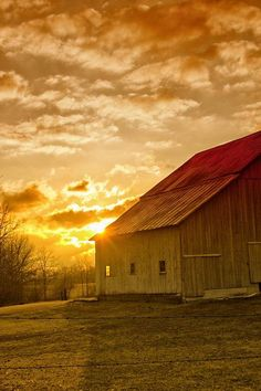 old barn and sunset
