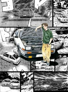 'Initial D / Takumi Fujiwara - Manga Wall Design (Version Poster by Mayorga Naruto Wallpaper Iphone, Jdm Wallpaper, Locked Wallpaper, Initial D Car, Framed Initials, Cool Car Drawings, Street Racing Cars, Graphic Design Brochure, Wallpaper Naruto Shippuden