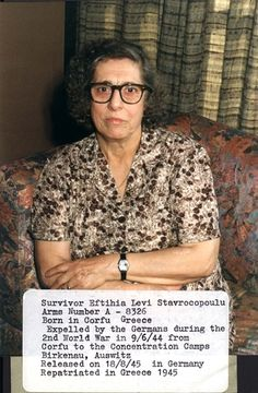 Greece, Eftihia Levi Stavrocopoulu, a Holocaust survivor. Prisoner number: A-8326. The sorrow in her eys and on her face shows the horrors she lived through.  Born in Corfu, Greece. Deported from Corfu to the camps by the Germans on 09/06/1944. Was interned in Birkenau and Auschwitz. Released in Germany on 18/08/1945, and returned to Greece the same year.
