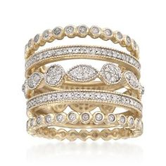 Set of Five Stackable .88 ct. t.w. Diamond Eternity Bands in 14kt Yellow Gold