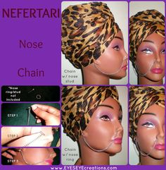 NEFETARI NOSE CHAIN  piercings required by EYESEYEcreations, $9.00 Dreads Styles, Nose Stud, Colored Contacts, Custom Items, Chain Lengths, Ear Piercings, Antique Gold, Anonymous, Studs