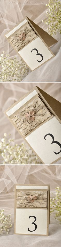 Rustic Wood Table Number with Heart Tag #realwood #woodlandwedding