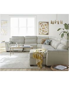 Magnified Furniture Julius II Leather Power Reclining Sectional Sofa Collection with Power Headrests and USB Power Outlet, Created for Macy's image Cream Leather Sectional, Leather Reclining Sectional, Sectional Sofa With Recliner, Living Room Sectional, Living Room Furniture, Cream Leather Sofa Living Room, Reclining Sofa, White Leather Couches, Modern Furniture