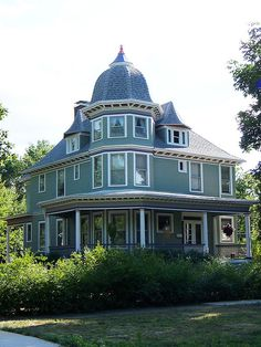 Paxton, Illinois, Green Victorian House with octagonal tower...