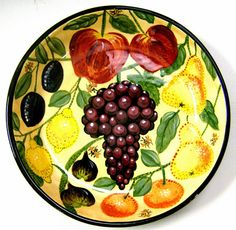Fruit pasta bowl an old pattern painted by artist Geoff Graham of Cinnabar Ceramics in Vallejo, California.