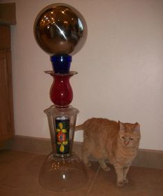 Gazing Ball Stand Instructions - Made From Stacked Thrift Store Vases