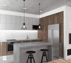 Aranżacje wnętrz - Kuchnia: Mieszkanie Wrocław 50 m2 - Średnia kuchnia, styl industrialny - RT Studio. Przeglądaj, dodawaj i zapisuj najlepsze zdjęcia, pomysły i inspiracje designerskie. W bazie mamy już prawie milion fotografii!
