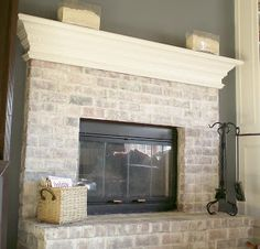 to Whitewash a Dated Brick Fireplace How to white wash . to Whitewash a Dated Brick Fireplace How to white wash . Find this home on Fireplace Makeover: Tiling The Mantel With Marble Herringbone House, Home Projects, Home, White Wash Brick, White Wash Brick Fireplace, Home Remodeling, New Homes, Fireplace, Diy Fireplace