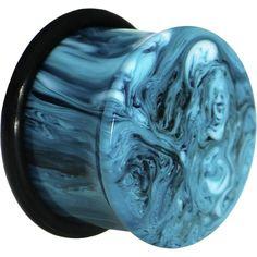"5/8"" Acrylic Teal Blue Marble Saddle Plug"