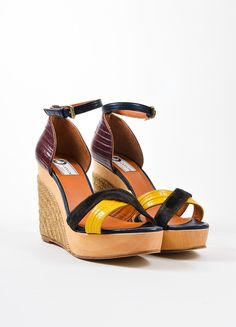Black, Red, and Yellow Lanvin Pony Hair Lizard Wood Espadrille Sandals