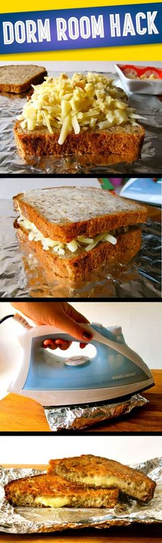Dorm Room Grilled Cheese Sandwiches. This reminds me so much of my old college days,.. ♥️ ...