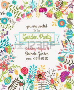 Garden or summer party invitation template or poster. Nature flower set design vector illustration plant. Invitación a fiesta en el jardín.