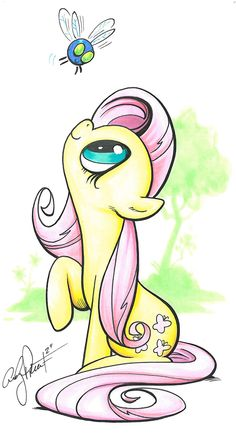 Fluttershy and Parasprite, My Little Pony by andypriceart.deviantart.com  Andy will draw the new MLP comic from IDW coming in the Fall.