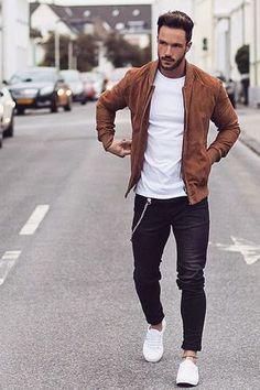 Jacket + chain + chuffed jeans