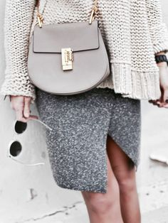 oversized sweater gray skirt .Street fall women apparel style outfit @roressclothes closet ideas fashion ladies clothing