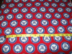 """SOLD 2 Yards United States Navy Motif  Fabric Red White Blue Cotton Material 45"""" Wide"""