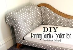 Step-by-Step instructions to build and upholster a Mini Fainting Couch (Toddler Bed!) by Sawdust and Embryos. This is seriously amazing!