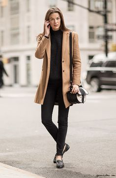Winter Tan Coat, Whitney Brown, uptown, New York City, street style, classic, beige / Garance Doré