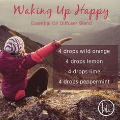 Waking Up Happy Diffuser Blend - wild orange, lemon, lime and peppermint Essential Oil Diffuser Blends, Essential Oil Uses, Doterra Essential Oils, Doterra Diffuser, Aromatherapy Diffuser, Young Living Oils, Young Living Essential Oils, Diffuser Recipes, Perfume