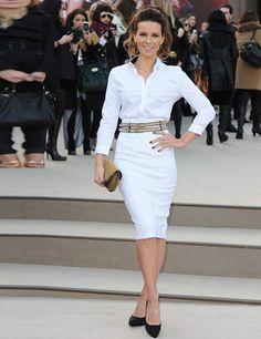 Kate Beckinsale arrives for the Burberry Prorsum show Autumn Winter 13.