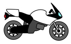 Fast cartoon motorcycle made with basic elements. Easy to draw! Try it!