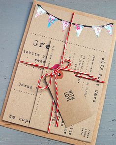 Vintage style wedding invitation with cute hand-collaged bunting design! @www.abirdandabee.co.uk                                                                                                                                                     More