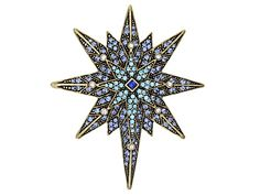 Off Park® Collection Multicolor Crystal Antiqued Gold Tone Star Bro