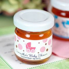 Personalized Baby Shower Honey Jar...cute baby shower favors for a bee theme or teddy bear theme!