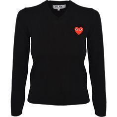 Comme Des Garcons Play Womens Logo V-Neck Jumper ($370) ❤ liked on Polyvore featuring tops, sweaters, embellished tops, heart print top, play comme des garçons, heart print sweater and v neck sweater