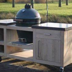 Ideas Backyard Bbq Setup Big Green Eggs For 2019 Outdoor Kitchen Grill, Outdoor Grill Area, Patio Kitchen, Outdoor Oven, Outdoor Kitchens, Outdoor Lounge, Outdoor Spaces, Table Bbq, Oak Table