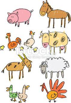 stick figure farm Royalty Free Stock Vector Art Illustration