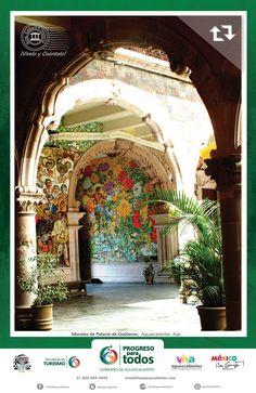 Tip para visitar esta tarde: Los arcos y murales de Palacio de Gobierno de Aguascalientes  Sabias que cuenta con 5  murales   que  representan gran parte de al historia de Aguascalientes así como 111 arcos de estilo mixtilíneo... YA LO SABES!!! Si te gusta, COMPÁRTELO!!