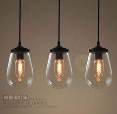 Ensemble de 3 moderne verre clair pendentif lumière rustique rétro lampe suspendue bulle raisin abat jour fil noir Art déco LED ampoules dans Éclairage suspendu de Lumières et Éclairage sur AliExpress.com | Alibaba Group
