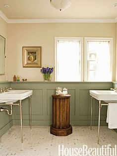 green wainscotting cream walls