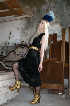 Great Gatsby Vibes Black Silk Cut Velvet Dress by BoudoirQueen, $495.00