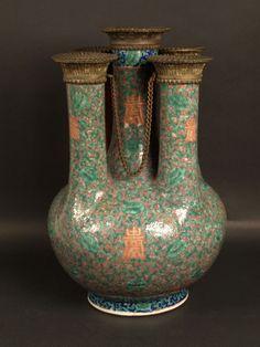 Chine, Vase à 5 cols, 19ème siècle.