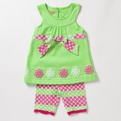 Little Girls' Two Piece Top with Bow at Waist and Short Set