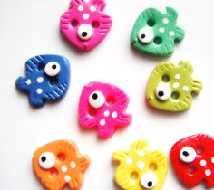 fish polymer clay buttons