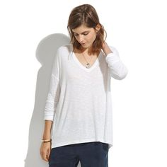My new favorite tee for fall/winter. Perfect for layering, uber-flattering vneck design. Size down b/c it runs large. @Madewell