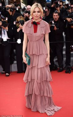 Going for glamour: Sienna Miller cut a beautiful figure on the red carpet at the Macbeth premiere during the Cannes Film Festival on Saturday evening