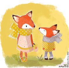 Cute foxes - Delphine Doreau, Le lapin dans la lune