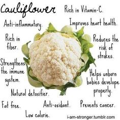~Health benefits of Cauliflower~ -Anti-Inflammatory -Rich in fiber -Strengthens the immune system -Natural detoxifier -Fat free -Anti-oxidant -Low. Healthy Tips, Healthy Eating, Healthy Recipes, Healthy Foods, Clean Eating, Healthy Habits, Healthy Smoothies, Eating Well, Veggie Recipes