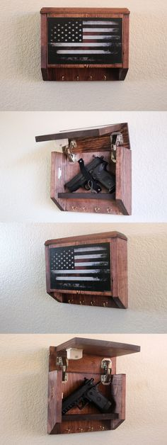 Cabinets and Safes Hidden Gun Storage Key Rack Vintage American Flag Wit. Hidden Gun Storage, Weapon Storage, Secret Storage, Hidden Gun Safe, Woodworking Projects Diy, Diy Wood Projects, Woodworking Plans, Home Projects, Lathe Projects