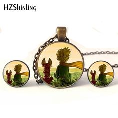 NR-0011 New Fashion The Little Prince with Fox Jewelry Set Little Prince Necklaces and Earrings Glass Dome Necklace Wholesale #Affiliate